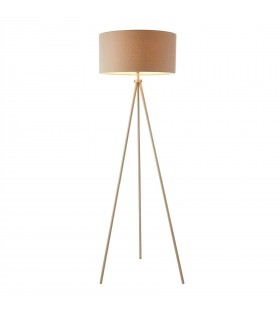 1 Light Floor Lamp Matt Nickel, Grey Linen Effect, E27