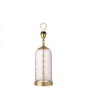 1 Light Table Lamp Solid Brass, Chiselled Glass, E27