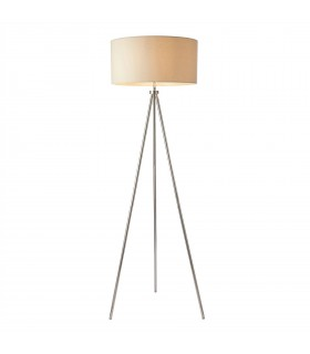 1 Light Floor Lamp Chrome, Ivory Linen Effect, E27