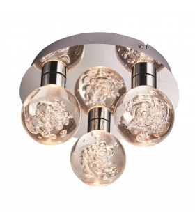 LED 3 Light Bathroom Flush Chrome, Acrylic Bubble Effect IP44