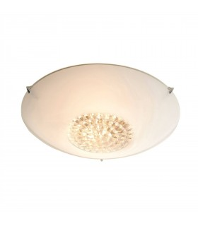 2 Light Flush, White Painted Glass With Faceted Glass Beads, E27