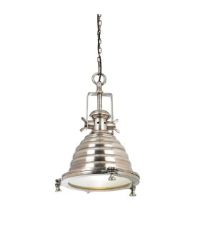 1 Light Dome Ceiling Pendant Clear Glass, Tarnished Silver