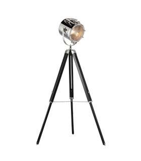 Floor Lamp Matt Black, Polished Nickel Plate, E27