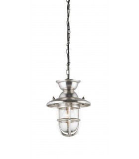 Ceiling Pendant Light Clear Glass, Tarnished Silver, E27