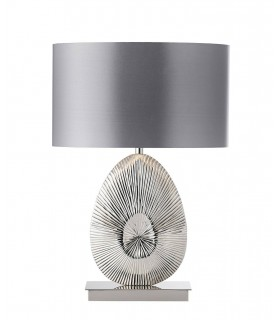 Table Lamp Polished Nickel Plate, Warm Grey Faux Satin