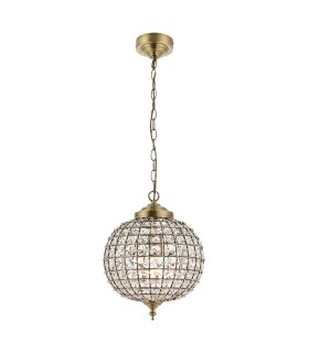 1 Light Ceiling Globe Pendant Antique Brass, Glass, E27