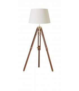 Floor Lamp Wood, Brass, E27