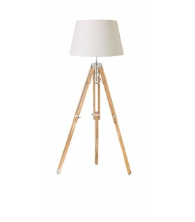 Floor Lamp Bright Nickel Plate, Teak Wood, E27