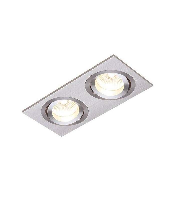 2 Light Recessed Downlight Brushed Silver Anodised