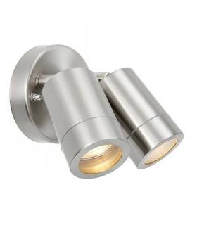 2 Light Outdoor Spotlight Marine Grade Brushed Stainless Steel, Glass IP65