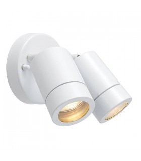 2 Light Outdoor Spotlight Gloss White, Glass IP44, GU10