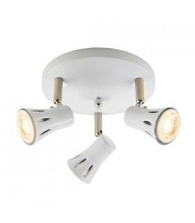 3 Light Spotlight Gloss White, Satin Chrome Plate