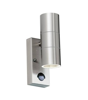 PIR 2 Light Outdoor Up Down Wall Light Clear Glass, Polished Stainless Steel IP44, GU10