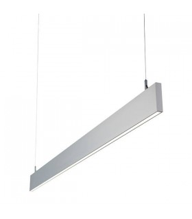 Integrated LED Linear Baton Pendant Bar Silver Anodised, Frosted IP40