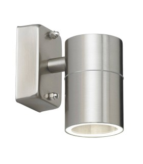 1 Light Outdoor Wall Light Clear Glass, Polished Stainless Steel IP44, GU10