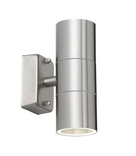 2 Light Outdoor Up Down Wall Light Clear Glass, Polished Stainless Steel IP44, GU10