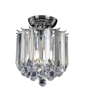 2 Light Flush Ceiling Light Chrome, Clear Acrylic
