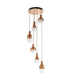 6 Light Spiral Cluster Pendant Copper Plated, Clear Glass, G4 Bulb