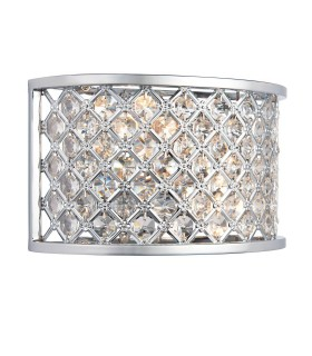 2 Light Indoor Wall Light Chrome with Crystal