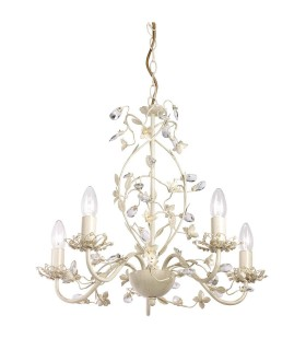 5 Light Multi Arm Ceiling Pendant Flower Design Cream With Brushed Gold, Pearl Effect Acrylic, E14