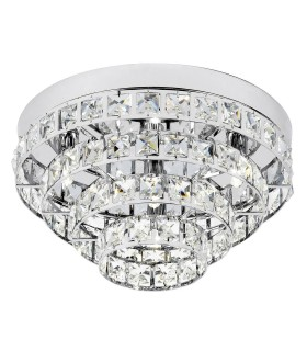 4 Light Flush Ceiling Light Chrome, Clear Crystal (K5) Glass