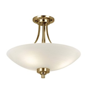 3 Light Flush Ceiling Light White, Antique Brass