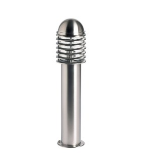 Outdoor Bollard Light Polished Stainless Steel, Clear Polycarbonate IP44, E27