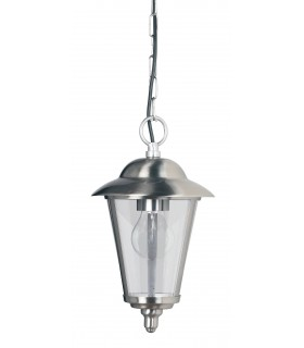 1 Light Outdoor Ceiling Pendant Light Polished Stainless Steel, Clear Polycarbonate