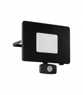 LED Outdoor Wall Flood Light with PIR Motion Sensor Black IP44