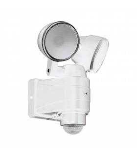 LED Outdoor Flood Wall Light with PIR Motion Sensor White IP44