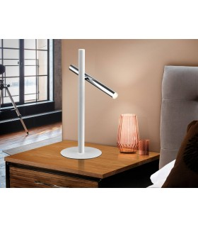 Integrated LED 2 Light Table Lamp Matt White, Chrome
