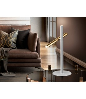 Integrated LED 2 Light Table Lamp Matt White, Gold