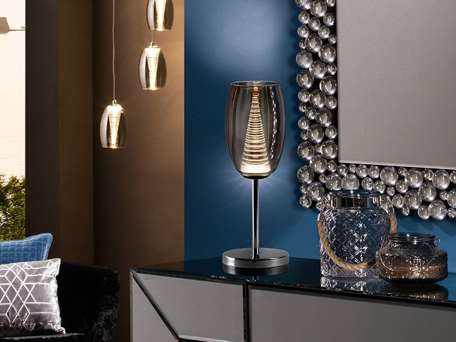 Integrated Led Crystal Table Lamp Chrome, Mirror