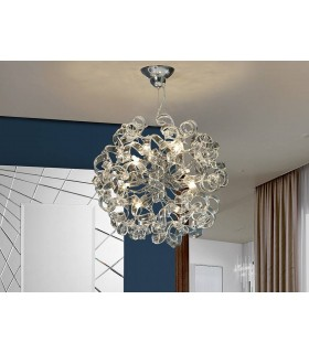 8 Light Dimmable Crystal Ribbon Ceiling Pendant with Remote Control Chrome