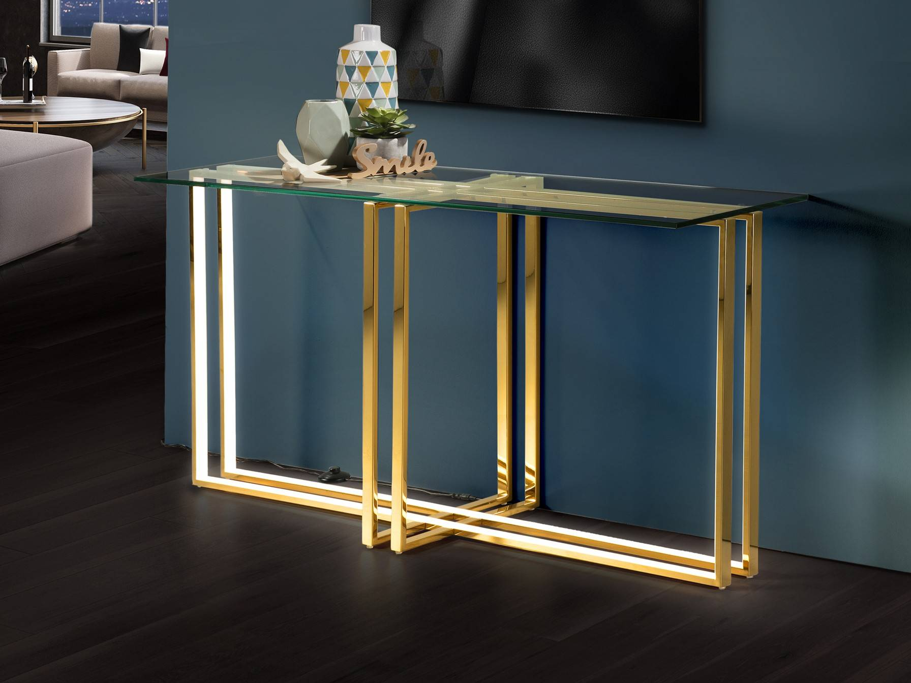 Integrated Led Crystal Table Lamp Gold