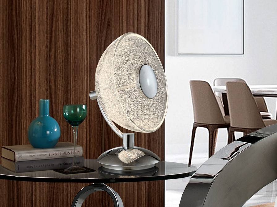 Integrated Led Crystal Table Lamp Chrome
