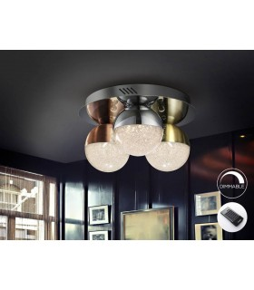 Integrated LED Dimmable Flush Ceiling Light with Remote Control Chrome, Brass, Copper