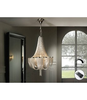 10 Light Dimmable Grand Chandelier with Remote Control Chrome