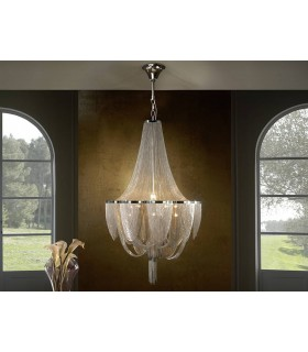 12 Light Dimmable Grand Chandelier with Remote Control Chrome