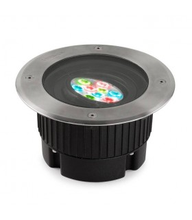Outdoor LED Recessed Ground Uplight Stainless Steel Polished DMX Dimming 18.5cm 0lm 16deg. RGB IP67
