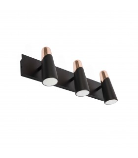 Led Black And Copper Wall Lamp 3 Light