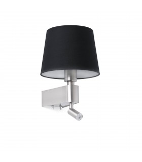 LED Black Wall Lamp With Reader 2700K