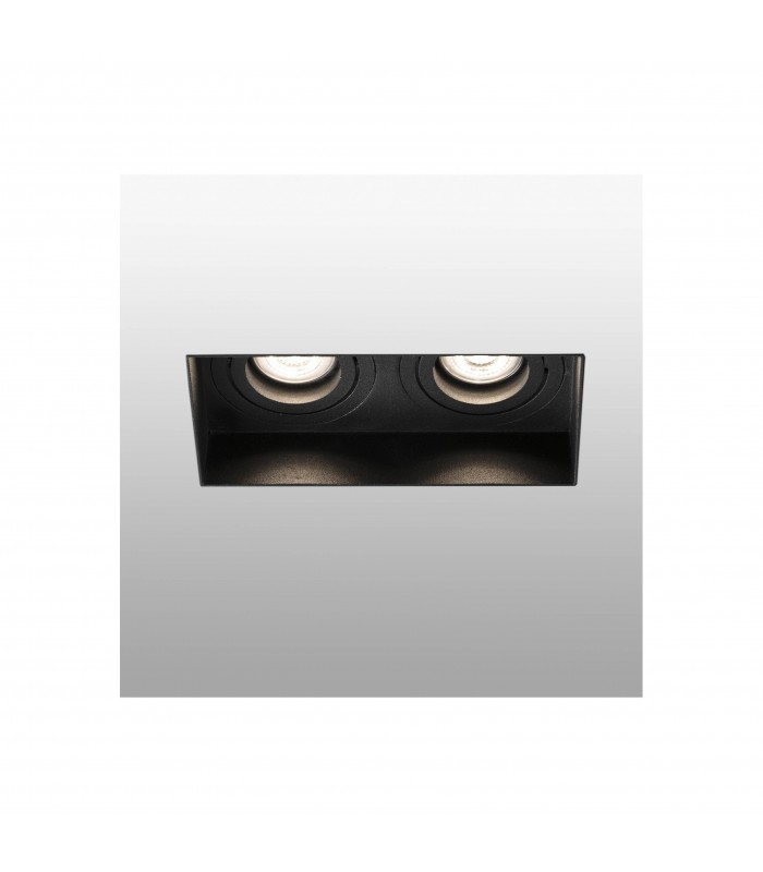 Trimless Black Tiltable square Recessed Downlight, GU10