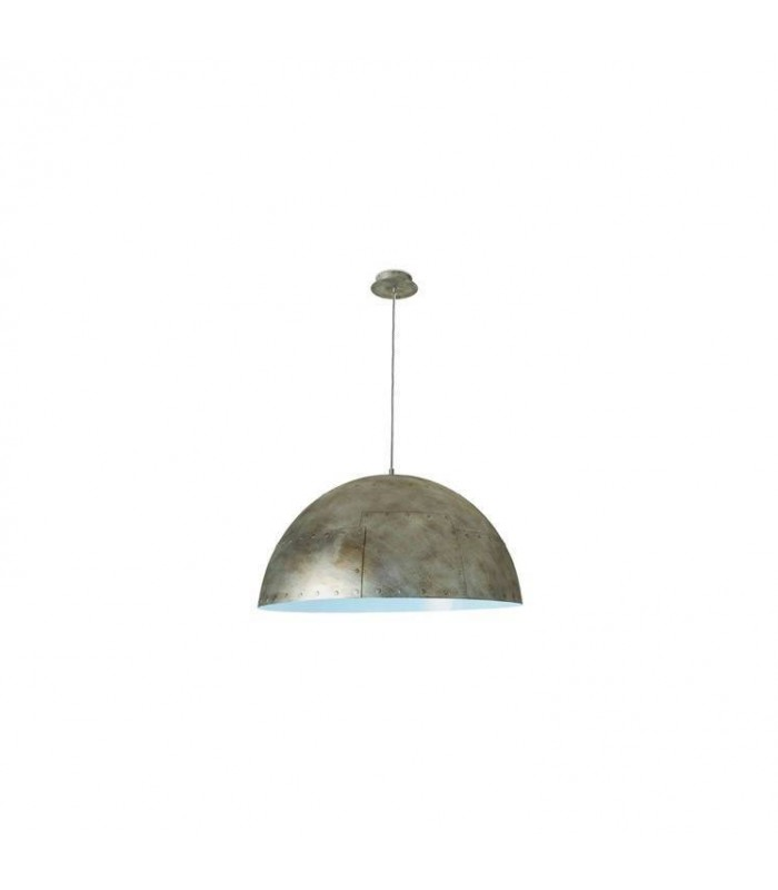 Pendant Ceiling Light Large Rustic Silver / White