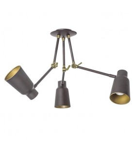 3 Light Triple Adjustable Pendant Chandelier Light Brown, Gold, E27