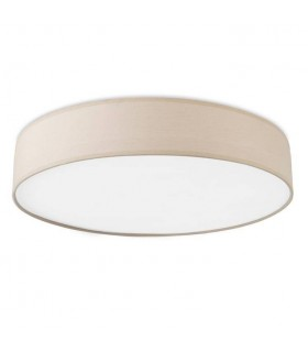 Small Flush Ceiling Light Beige Fabric