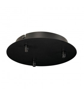 Ceiling Canopy, Triple, Round, Black, Includes Strain-Relief, 16A Max.