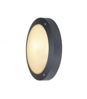Outdoor Wall And Ceiling Bulkhead, Round, Anthracite, E14, Frosted Glass, IP44
