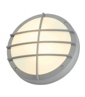 Outdoor Wall And Ceiling Bulkhead, Round, Silver-Grey, E27, Pc Cover, IP44