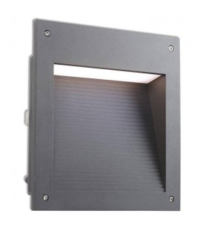 LED Outdoor Large Recessed Wall Light Urban Grey IP65